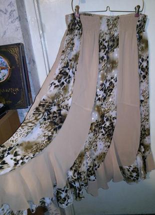 """Красивая,длинная,нарядная,комбинированная """"леопардом"""" юбка на резинке,большого размера"""