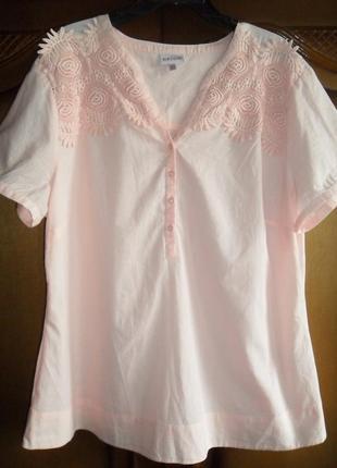 Рубашка нежно-розовая с кружевом