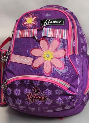 Школьный рюкзак для девочки с пеналом цветы фиолетовый 3393-3