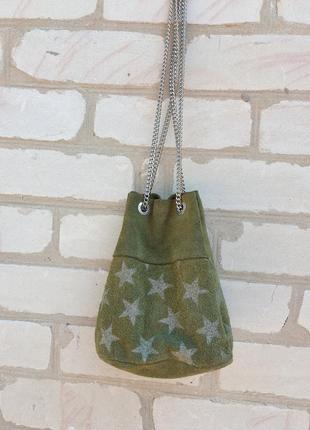 Итальянская замшевая сумочка мешок