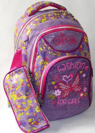 Школьный рюкзак для девочки с пеналом бабочка cute фиолетовый 3393-4