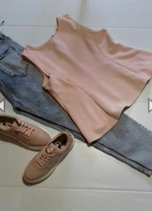 Распродажа! топ - блуза с баской в рубчик размер м-л