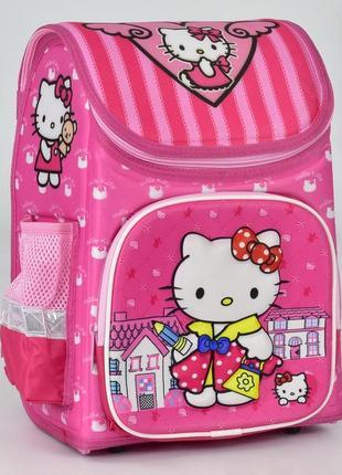 Школьный каркасный рюкзак для девочек cat розовый 3423-3