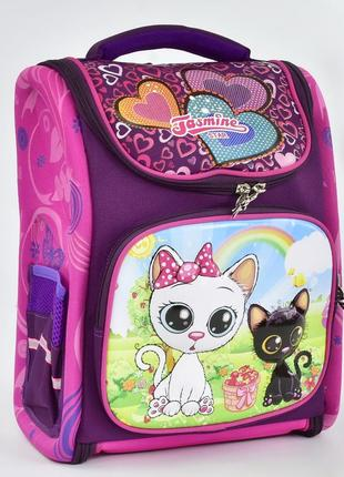 Школьный каркасный рюкзак для девочек cat фиолетовый 3423-6