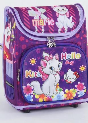 Школьный каркасный рюкзак для девочек hello marie фиолетовый 3423-7