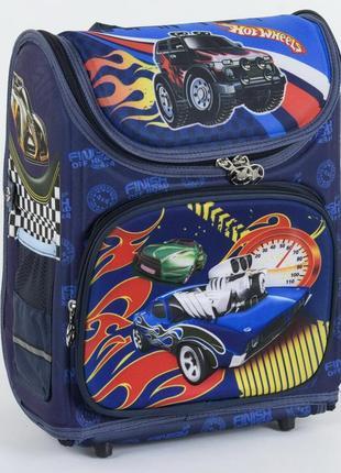 Школьный каркасный рюкзак для мальчиков машины hot синий 3421-3