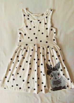 Белое платье в горошек h&m