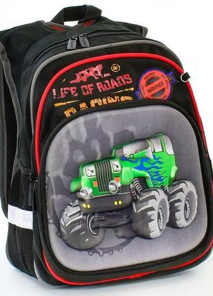 Школьный рюкзак для мальчиков черный джип объёмный 3456-4