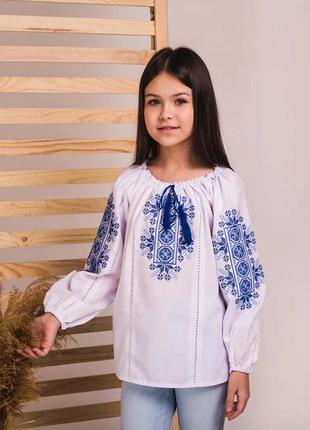 Блуза сорочка вышиванка с голубой вышивкой крестиком р 110-1646