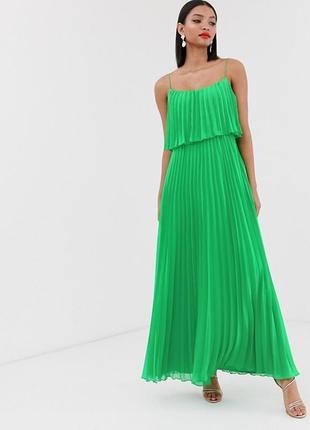 Шикарнейшее платье плиссе от asos, плиссированное в яркий зелёный цвет!