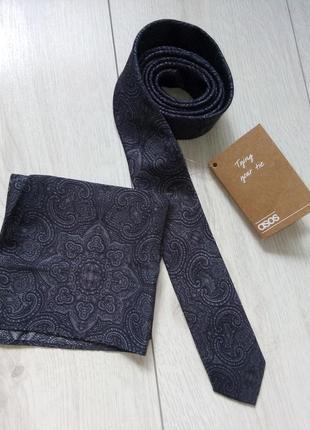 Узкий галстук платок для пиджака с узором пейсли asos
