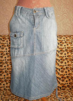 Джинсовая летняя юбка,famous  м, 44-46, смотрим замеры.