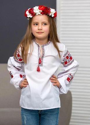 Белая блуза вышиванка для девочки вышивка розочки