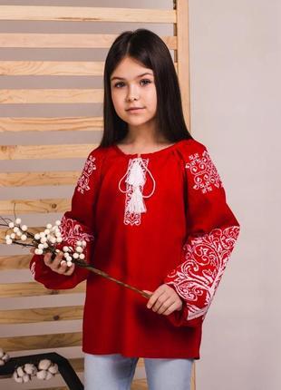 Роскошная блуза вышиванка для девочки вышивка на красном льне