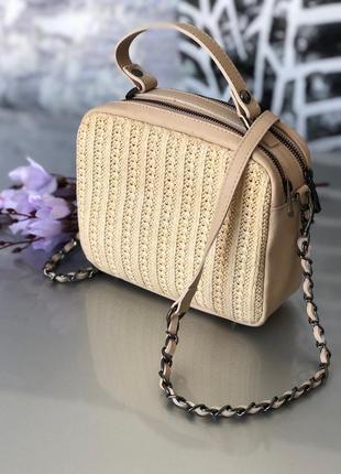 Кожаная сумочка кроссбоди бежевая vera pelle италия сумка клатч беж пудра светлая