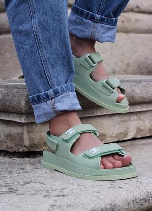 Женские босоножки chanel sandal mint ◈ сандалии мятного цвета 😍