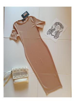 Классное базовое платье карандаш, резинка, короткий рукав
