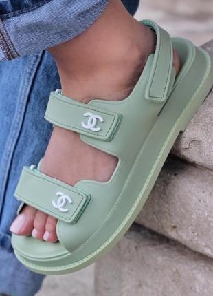 Босоніжки босоножки chanel sandal mint сандалі сандалии