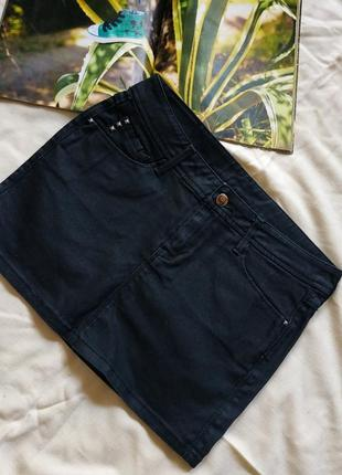 Mango юбка черная джинсовая