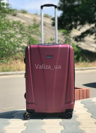 Качество! французский средний чемодан пластиковый из поликарбоната со сьемными колесами
