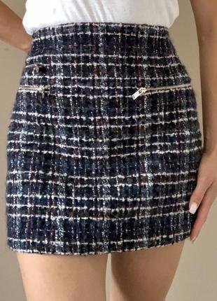 Шикарная твидовая юбка zara ysl christian dior