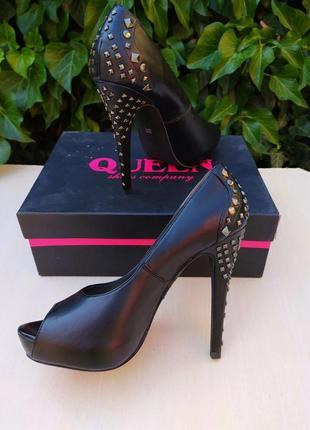 Туфли кожаные с открытым носиком queen