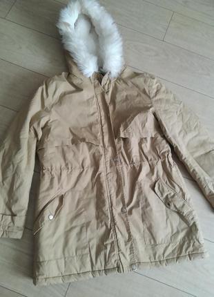 Пальто куртка парка бежева зимова
