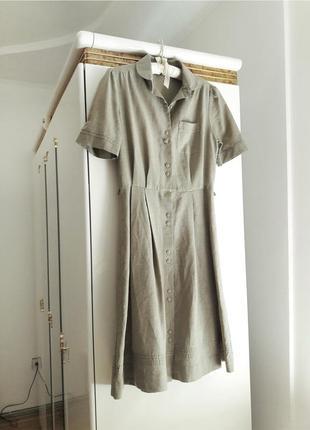 Льняное платье миди рубашка на пуговицах