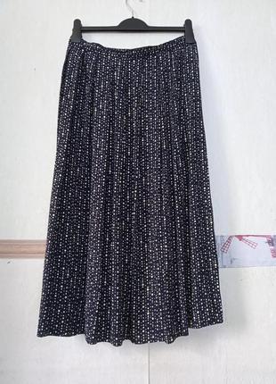 Натуральная юбка в горошек батал размер