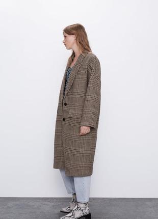 Шикарное тёплое шерстяное пальто бойфренд zara