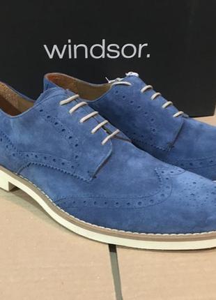 Туфли мужские windsor дерби броги замшевые светло-синего цвета р.8евр 41,5