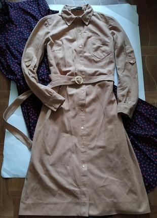 Распродажа платье рубашка в винтажном стиле с поясом