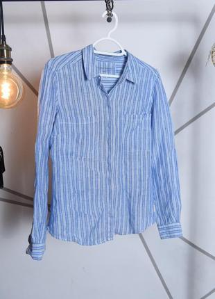 Льняная рубашка в белую полоску
