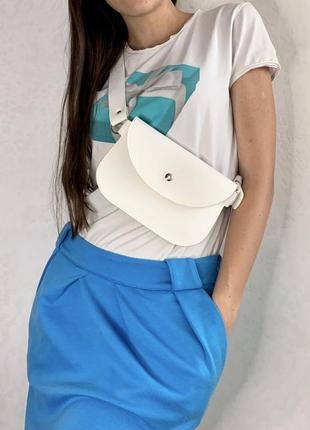 Женская поясная сумка бананка летняя белая2 фото