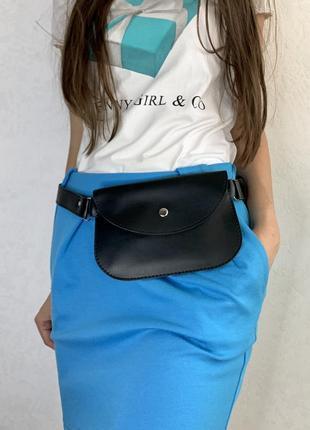 Женская поясная сумка бананка летняя черная