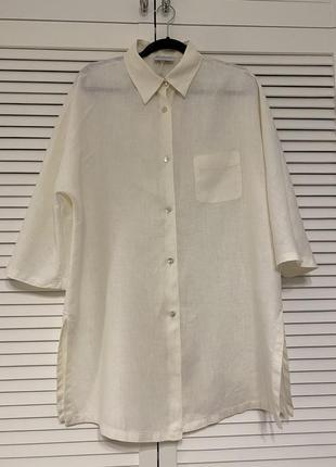 Роскошная оверсайз рубашка из итальянского льна