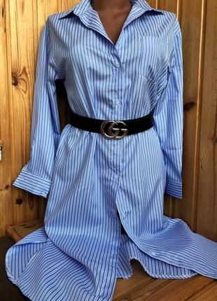 Стильное полосатое платье рубашка миди