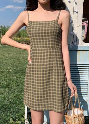 Платье сарафан в клетку клеточку ретро винтаж topshop
