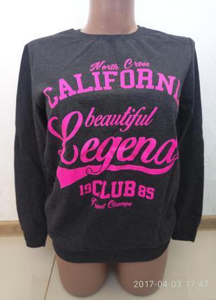 Красивый свитер,свитшот серого цвета турция р.l