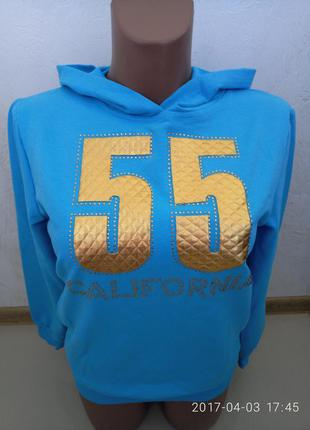 Модный голубой свитер, свитшот турция