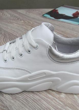 Кроссовки белые кожаные для девочки  32--40размер