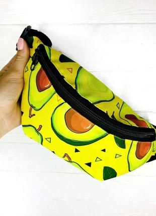 """Бананка текстильная желтого цвета с принтом """"авокадо"""" поясная сумка"""