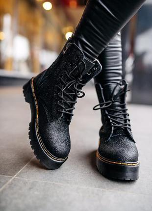 Ботинки dr.martens «хутро» jadon glitter