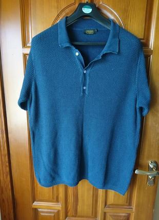 Котоновая темно синяя футболка поло по груди 118см