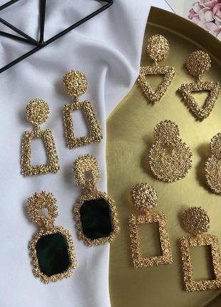 Акція 1+1=3💕стильні сережки,серьги с текстурой в сріблі і золоті 💎з сайту asos
