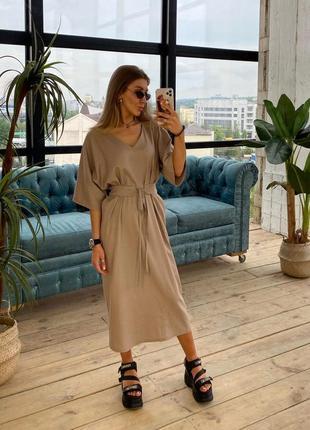 Платье сарафан лен, льняное платье, миди платье, летнее платья