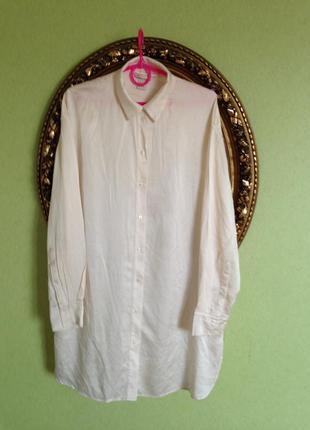 Шелковое платье туника рубашка h&m