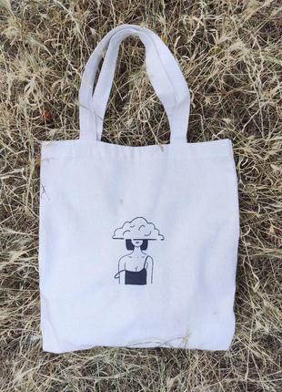 """Экосумка с рисунком ручной работы """"девушка с каре"""", шопер, сумка для покупок"""
