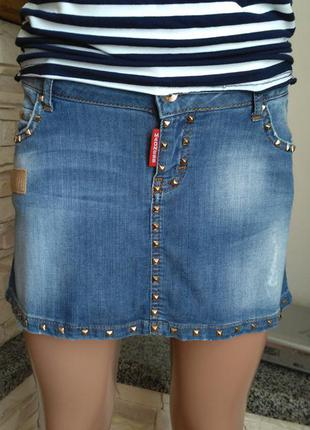 Фирменная турецкая джинсовая юбка с заклепками amnezia,anm,anmesia