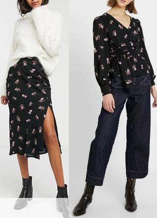 Комплект fashion union  юбка миди + топ на запах цветочный принт asos
